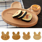 Natural Wooden Kids Plate Divided Dish Bowl Food Serving Tray Rabbit