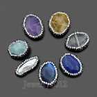 Faceted Natural Gemstone Pave Rhinestones Bracelet Connector Coin Beads 17-23mm