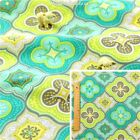GREEN BLUE Meter/Fat Quarter/FQ Cotton Fabric Retro Big Quatrefoil Floral Print