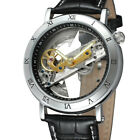 Luxury Men's Steampunk Skeleton Bridge Steel Leather Automatic Wrist Watch image
