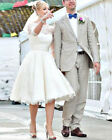 2016 Knee Length Lace Wedding Dresse Bridal Gown Size 4 6 8 10 12 14 16 18
