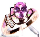 Rose Gold Plated Pink Topaz & Fire Opal 925 Sterling Silver Ring Size 6 or 7