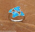 Hot Seller!! Blue Fire Opal Inlay 925 Sterling Silver Heart Ring Size 5.5