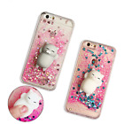 Squishy Lazy Cat Soft Frame Hard Back quicksand case Cover for iphone Samsung