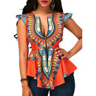 Women V Neck Ankara African Print Dashiki Shirt Traditional Tops Blouse
