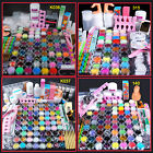 UK Colored Acrylic Powder Glitter UV Gel Liquid Nail Art Tips Glue Brush Kit Set