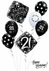 Black and White 21st Birthday Balloon Bouquet Adult Party Decorations