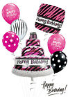Black and Pink Birthday Cake Balloon Bouquet Party Decorations