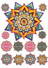 "Edible 6"" *PRECUT* Icing MANDALA Art Cake Topper & 12 Extra's Great For Cupcakes"