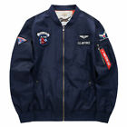 Men's Air Force Bomber Pilot Jacket Zip Up Embroidered Army Work Outwear Jackets