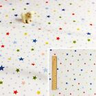 WHITE 160cm wide! Meter/Square/FQ Cotton Fabric Basic Nursery Baby Stars Spotty