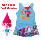 2018 Lovely Girl Summer Poppy Trolls Sleeveless Party Holiday Birthday Dress K86 image
