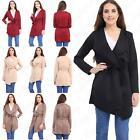 Womens Ladies Waterfall Long Sleeve Short Belted Trench Jacket Coat 8-26