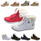 New Women Ladies Warm Fur Lined Boots Joggers Ankle Winter High Top Trainers 3-8