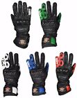 Motorcycle Motorbike Real Leather Racing Gloves Long Knuckle SPS Protection