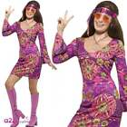 Womens Woodstock Hippie Chick 1960s 70s Festival Retro Hippy Fancy Dress Costume