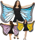 Ladies Large Blue Yellow Purple Soft Butterfly Wings Fancy Dress Costume Outfit