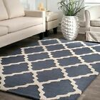nuLOOM Hand Made Modern Geometric Trellis Wool Area Rug in Blue Gray