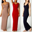 Lady Women Cotton Sleeveless Long Maxi Dress Bandage Bodycon Evening Party Dress