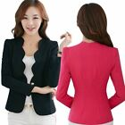 Womens Candy Color One Button Casual Business Blazer Suit Jacket Coat Outwear US
