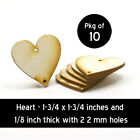 Heart - 1-3/4 x 1-3/4 x 1/8 with 2 2mm holes unfinished wood (HART40)