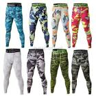 US Men Compression Base Layer Camo Leggings Sports Gym Workout Pants Trousers