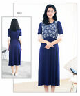 Lace Block Dress Nursing Breastfeeding Pregnancy Mid-calf Elegant Comfy M/L/XL