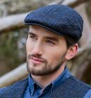 Black Trinity Flat Cap with blue lines Mucros Weavers Col 434-1