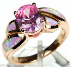 Rose Gold Plated Pink Topaz & Pink Fire Opal 925 Sterling Silver Ring Size 6