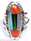 Multicolor, Turquoise & Spiny Oyster Shell Inlay 925 Sterling Silver Ring sz 5-9