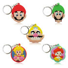 5pcs/set Super Mario Cartoon Figure Key Chain PVC Key Ring Key Holder Pendant