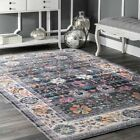 nuLOOM NEW Traditional Vintage Floral Area Rug in Gray, Purple, Pink Multi