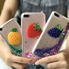 3D Fruits TPU Rubber Soft  Bling Liquid Quicksand Case Cover For Lots of Phones