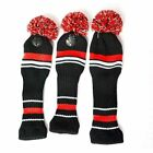 3Pcs Golf Club Knitted Headcover Head Covers For Titleist Taylormade Black Red