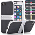 Shockproof Dual Layer Armour Carbon PC TPU Stand Case Cover For Apple iPhone 8 7