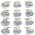 Silver Engraved Wedding Cufflinks Mens Oval Personalised Cuff Links * UK Seller*