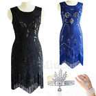 1920s Flapper Dress Gatsby Beaded Sequins Fringe Gown Prom Evening Retro Dresses