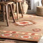 nuLOOM Hand Made Southwestern Wool Area Rug in Grey Brown Orange