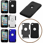 For Apple iPod Touch 4th Gen Hybrid Dual Layer Rubber PC Case Skin Rugged Cover