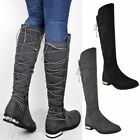 Womens Ladies Stretch Wide Leg Thigh Over The Knee Boots Low Gold Heel Size UK