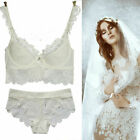 White Luxury Sexy Lace Push Up Lace Side Support Plunge Lingerie Briefs Bra Sets