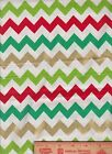 Chevron Zig Zag Red Lime Green Guilded Christmas craft Holiday RTC Fabric