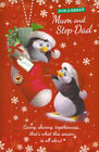 for a great MUM AND STEP-DAD cute happy Christmas card large mum & stepdad card