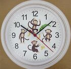 MONKEY Wall CLOCK Chimp Simian Primate Banana Happy Monkeys Ape Chimpanzee New