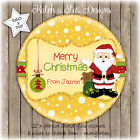 YELLOW SANTA CHRISTMAS PERSONALISED ROUND CIRCLE GLOSS STICKERS X 12