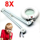 5X/8X Diopter Magnifying Glass With Clamp Top Desk Stand Lamp Facial Light