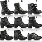 Womens Ladies Studded Flat Ankle Boots Spikes Biker Punk Chunky Winter Size UK