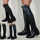 New Womens Ladies Studded Over The Knee Thigh High Gold Heel Flat Stretchy Boots