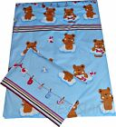 Bedding - Duvet cover+Pillowcase/Curtains - Baby/Toddler/Junior Blue Teddy Bear