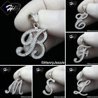 Men Women 925 Sterling Silver Icy Bling Diamond 26 Initial Letters Pendant*sp175